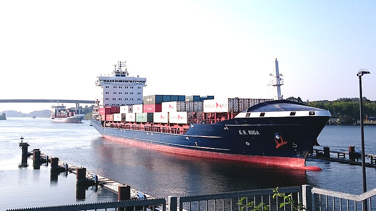 container ship at Kiel Canal