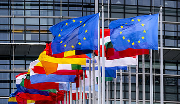 Flags in front of European Union building