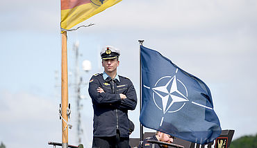Seaman on top of a German navy ship