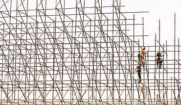 Wooden scaffolding construction