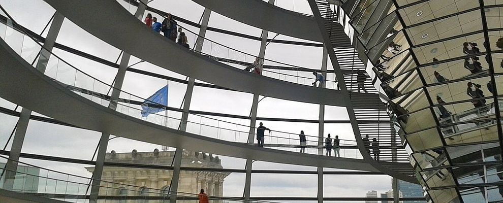 Inside shoot of the cupola of the Reichstag, the building of the German Bundestag.