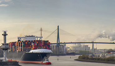 Panoramic view of a container ship in port of Hamburg