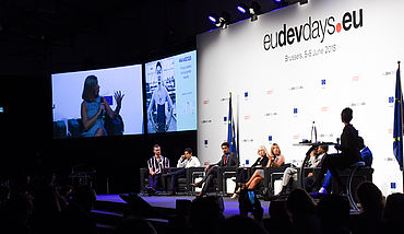 Panel on stage at EU Dev Days 2018